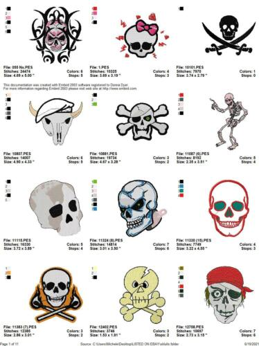 144 SKULLS ROTTEN HEADS EMBROIDERY MACHINE DESIGNS COLLECTION PES JEF HUS