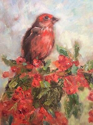 "Original Impressionism Daily Bird Oil Painting 12""x9"" Artist Signed"