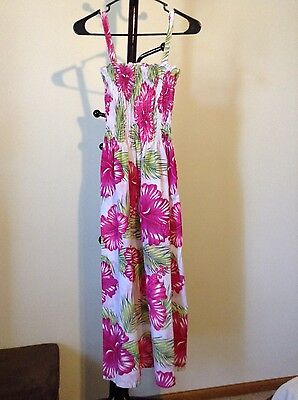 New National For Her women's pink/green/white floral strap elastic bust dress L
