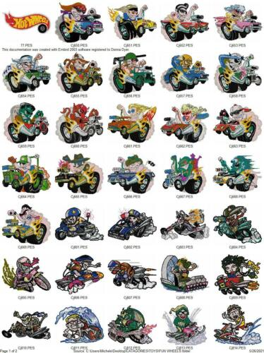 61 FUN WHEELS COLLECTION HOT RODS EMBROIDERY MACHINE  DESIGNS PES USB