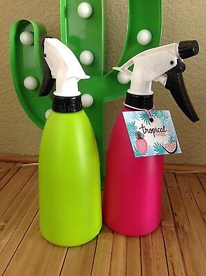 funky retro water spray plant hair bottle bright pink or green UK