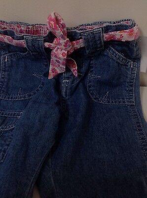 Toddler girls  jeans wear infants, girls pink belted jeans, 12 months for sale  Kelso