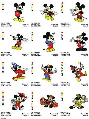 Mickey Mouse 1, 20 embroidery machine designs on CD, Multi Formats available