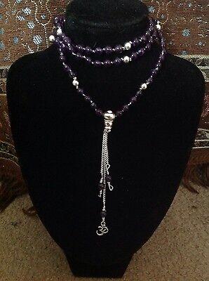 Amethyst Sterling silver knot mala 108 Buddhist prayer bead monk made bless 6mm - Monk Beads