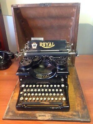 Máquina de escribir antigua Royal 10, año 1916, con cofre original, EE.UU.