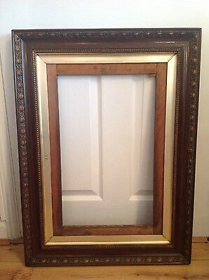 """2 Antique Victorian Mahongany Gesso 3 layer Picture Frames 31""""x21"""""""