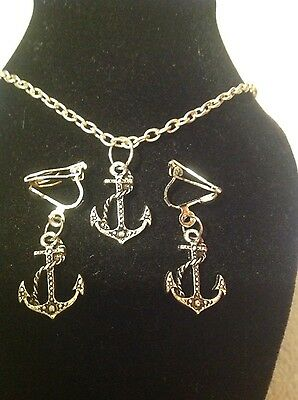 anchor necklace and matching clip on earrings silver plated