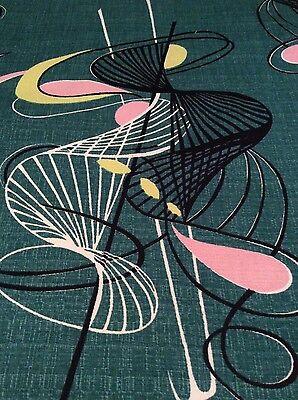 "vintage 1950s fabric mid century modern atomic spirals green 23""/59cm square"