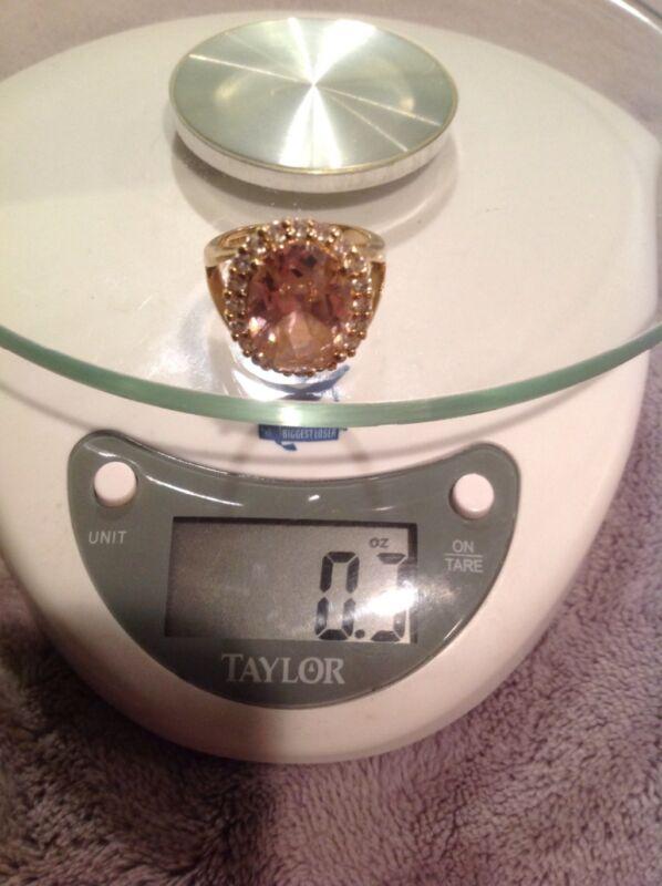 Jackie Kennedy Kunzite & Diamonique Ring Size 8 by Camroes & Kross 925 Silver