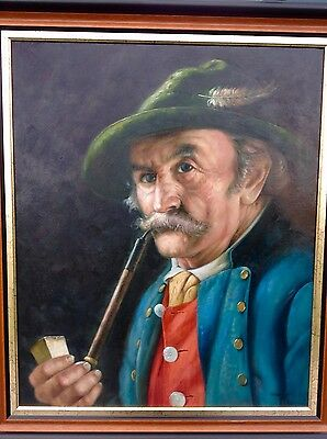 Ölbild Mann mit Pfeife, sign. Steiger - 73x62 cm incl. Rahmen  Hammer!!!