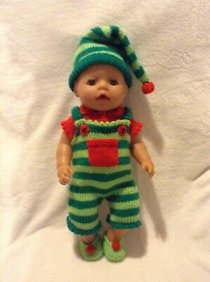KNITTING PATTERN - Novelty Christmas Elf costume for 15 - 18 inch doll baby - Elf Costume For Baby