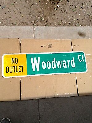 Authentic Retired Woodward Street sign reflective. 36 x 10 double sided