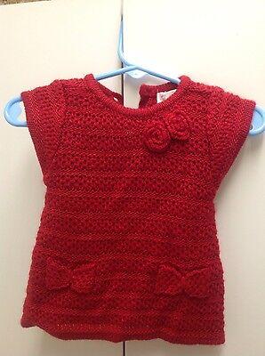 Cherokee newborn crocheted sweather  red short sleeve  100% acrylic panty also Cherokee Newborn Girls Short