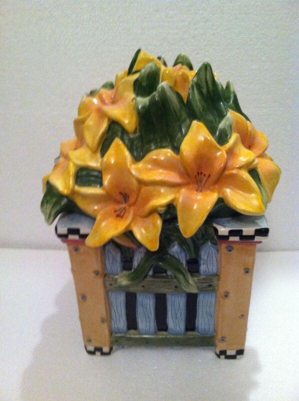Sakura China. Debbie Mumm yellow flowered canister