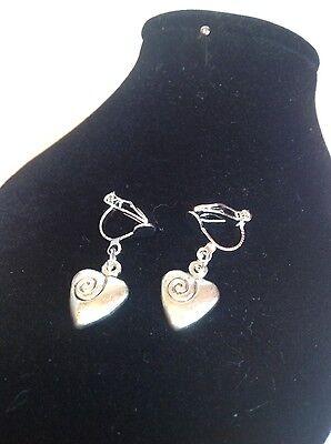 ....Heart... clip on earrings