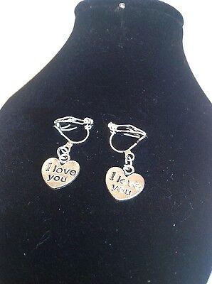 I love you Heart clip on earrings