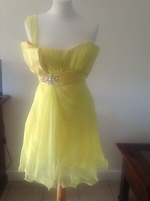 Used, Ladies La Femme prom bridesmaid yellow dress 8 for sale  Shipping to Ireland