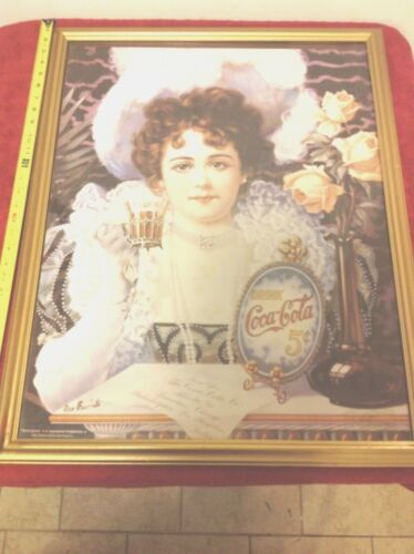 VERY RARE HTF Vintage Coca Cola Coke Ad Print Favorite Lady 1890 Framed Picture