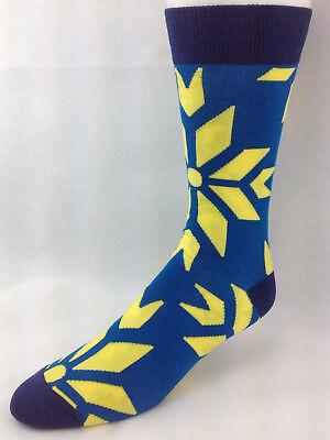 Blue & Yellow Giant Snowflake Men's Crew Dress Socks (Giant Snowflakes)