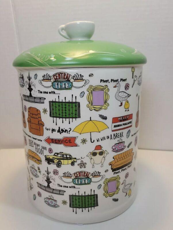 Friends Central Perk Graffiti Ceramic Cookie Jar Food Storage NEW Coffee - chip