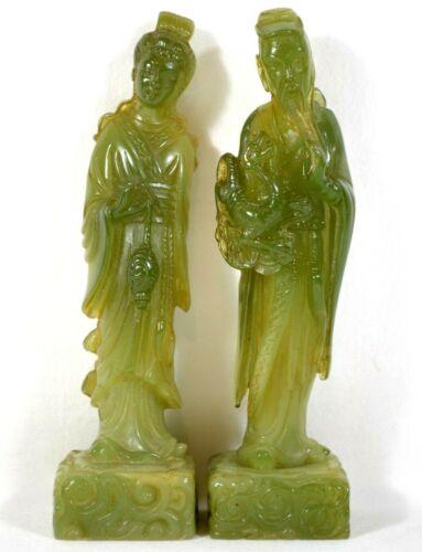 "Set 2 Vtg Chinese Statue Figures 5"" Asian Geisha Woman & Warrior w/ Dragon"