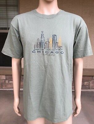 Vintage 90s Chicago The Windy City Tourist T Shirt M.J. Soffe USA Made Large