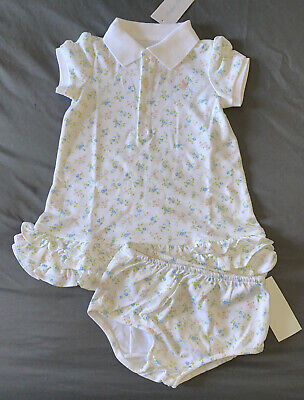Baby Girl 24 Months Ralph Lauren White Floral Tennis Ruffle Dress & Bloomers Baby Girl Ralph Lauren Pants