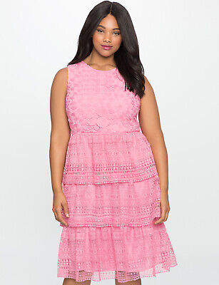 Pink Tea Party Dress (NWT Eloquii Pink Eyelet Lace Tiered Ruffle Dress Size 16 Cocktail Party)