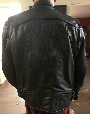 Harley Davidson Reflective Skull Leather Jacket Mens 2XL