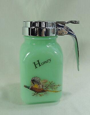 Honey Dispenser Jadite Glass W/ Pheasant Decal Jadeite Green Milk Glass