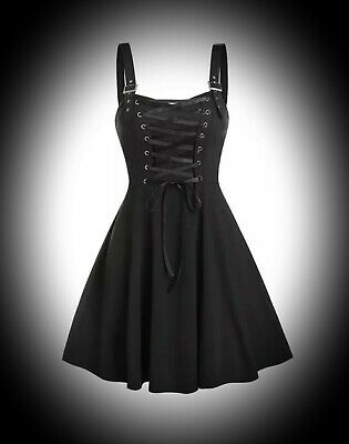New Black Gothic Lace Up Bust Buckle Strap Casual Skater Dress size 3XL 16 18 20