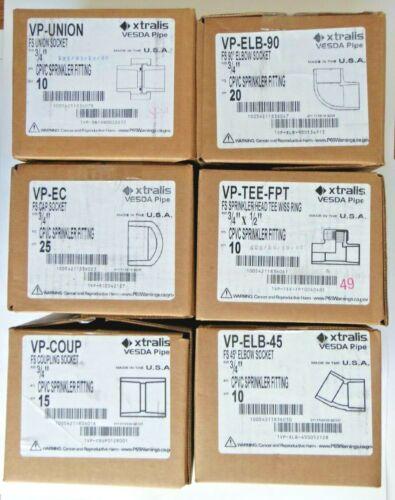 """Xtralis Vesda 3/4"""" CPVC Sprinkler Fittings VP Union-Tee-ELB 90-45-Coupling-Cap"""