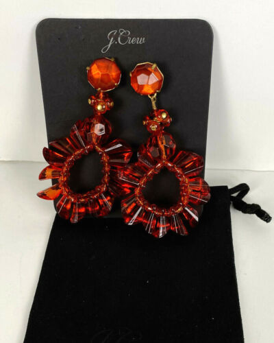 NWT Authentic J Crew Wreath earrings Vibrant Flame Item H0797