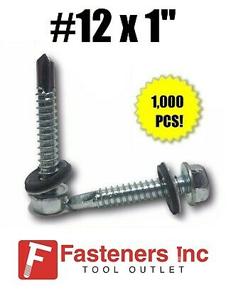 1000 Hex Rubber Washer Head 12 X 1 Self-drilling Roofing Siding Screw Zinc