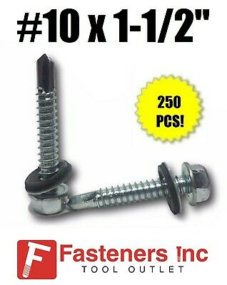 250 Hex Rubber Washer Head 10 X 1-12 Self-drilling Roofing Siding Screw Zinc