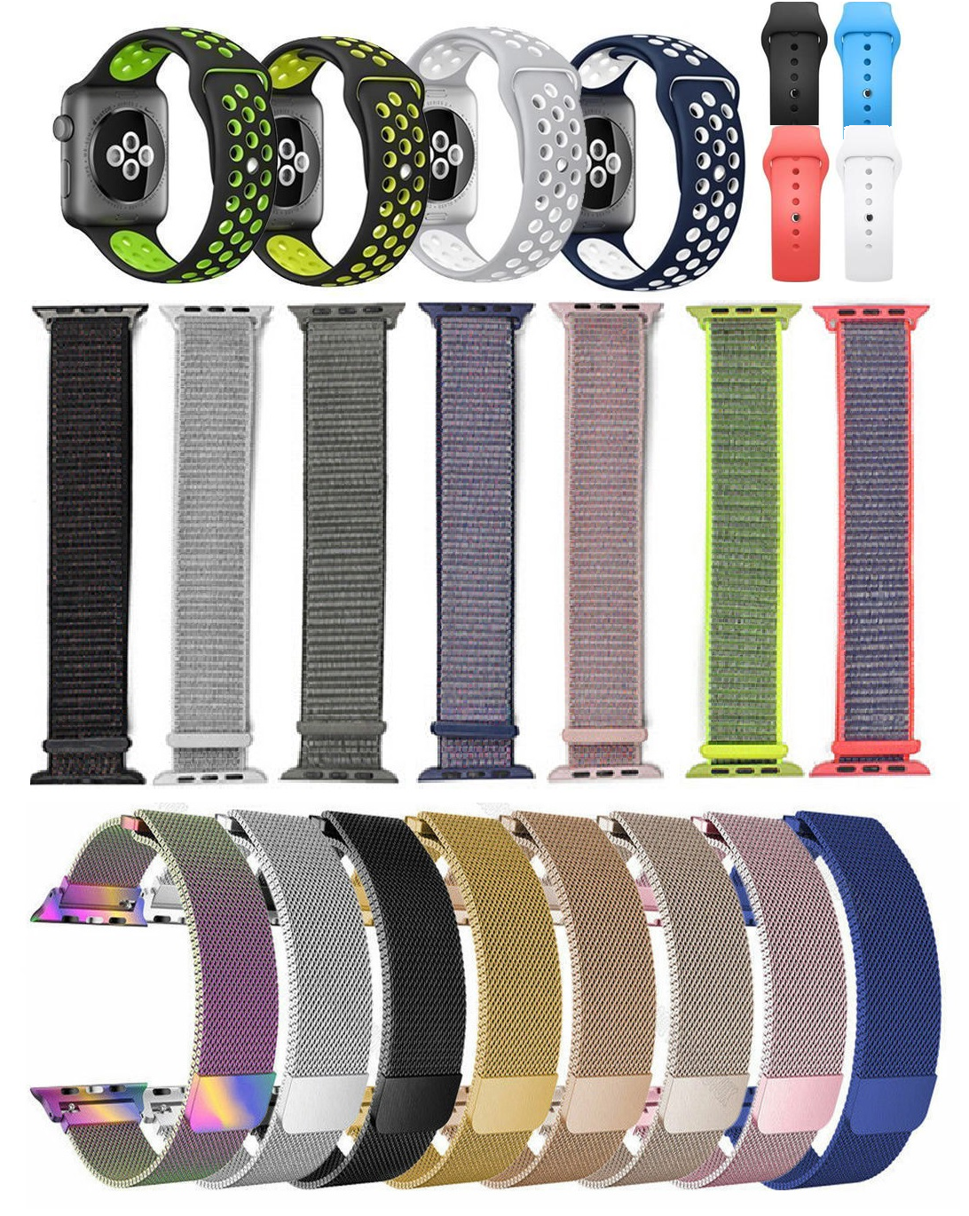 for Apple Watch iWatch Band Straps Bracelet Sports, Silicone, Metal Nylon Jewelry & Watches