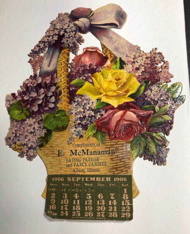 1906 Diecut Calendar Sign Basket Of Flowers McManaman Candy Albion Illinois