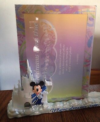"NEW IN BOX Disney 4x6"" Photo Frame WHERE DREAMS COME TRUE Mickey Mouse souvenir"