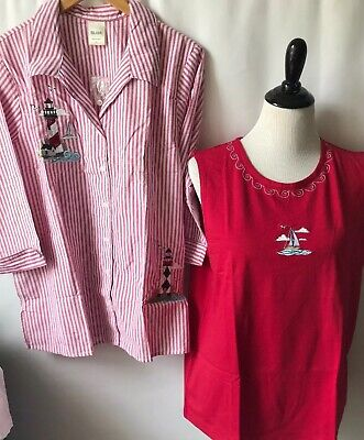Two Sleeveless Tops (Blair Two Tops Button up blouse & Sleeveless tank Sail Boat Lighthouse LARGE NEW )