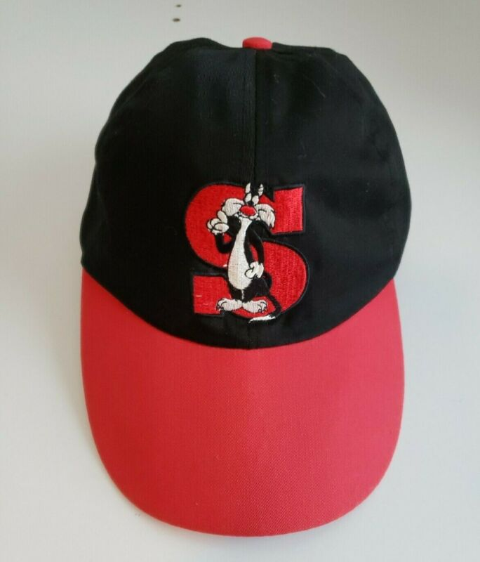 Vintage 1993 Looney Tunes Sylvester The Cat Baseball Cap Black/Red