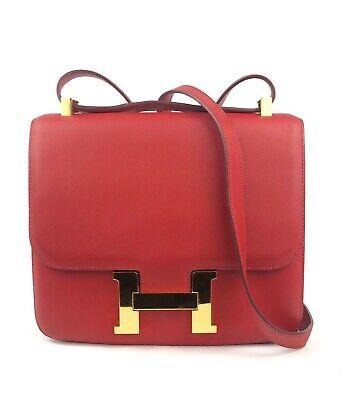 HERMES CONSTANCE 24 Red Rouge Casaque GOLD Hardware