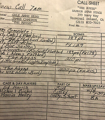 """""""The Abyss"""" - A James Cameron Film - Original Call Sheet From Production"""