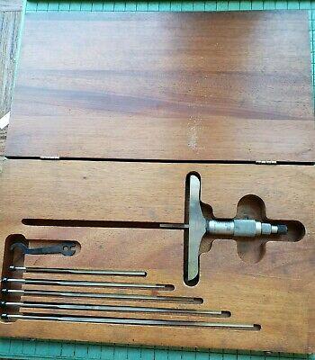 Vintage Starrett Depth Micrometer No 449 0-6 Mahogany Case 4 Inch Base