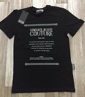New Mens Versace Jeans Couture T-Shirt Diamante Printed Crew Neck Black Size L