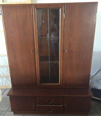 Holz Buffet Vitrinenschrank braun ca. 60er Jahre 2teilig mit Glas guter Zustand  Buffet Schrank Braun