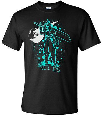Final Fantasy 7 Cloud Strife Japanese Ink Splatter Adults Unisex T-Shirt