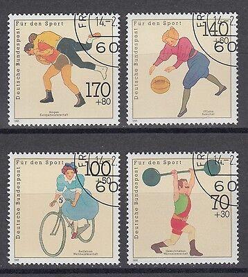 Bund 1499-1502 sauber gest. Sporthilfe 1991 Basketball Gewichtheben Ringen (1) ()
