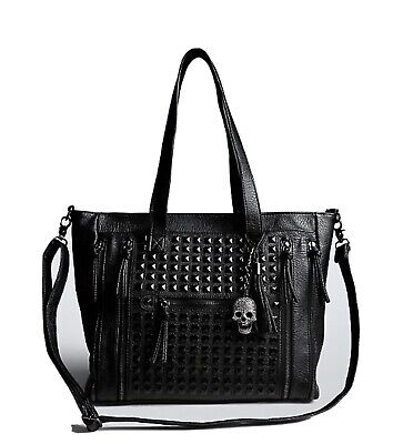 (Pre-owned) Studded Satchel Purse With Skull Charm Ladies Studded Satchel
