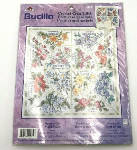FLOWERES OF THE MONTH Pillow Garden Counted Cross Stitch Kit Bucilla