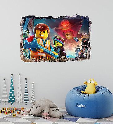 Lego Movie Smashed 3D Wall Decal Removable Kids Sticker Vinyl Decor Art DA81 - Lego Decor